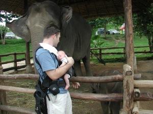 Baby Eli with baby elephant