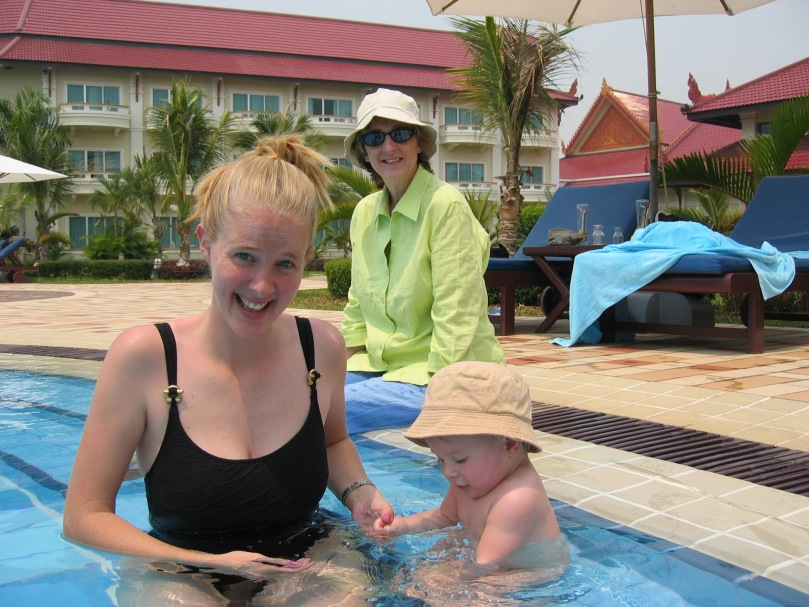 my mom in Cambodia at pool